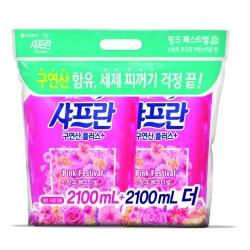 LG생활건강 샤프란 섬유유연제 핑크 센세이션(2.1L*2입)