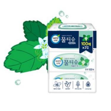 깨끗한나라 애플민트 물티슈<br>(100매*3입)