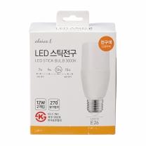 초이스엘 LED 스틱전구(전구색)(12W*2입)