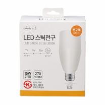 초이스엘 LED 스틱전구(전구색)(15W*2입)