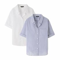 L1803NS11 반오픈 줄무늬 셔츠