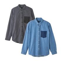 MS8303 데님 포켓배색 셔츠