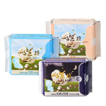 [무료배송] 내츄럴코튼 생리대<br>중형 8개*10입 9,900원