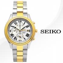[正品][SEIKO] 세이코 정품SNAC78J/SNAC78J1 크로노그래프 화이트+골드 메탈 밴드 시계