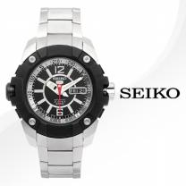 [正品][SEIKO] 세이코 정품SKZ261J/SKZ261J1 오토매틱 블랙+실버 메탈 밴드 시계