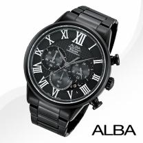 [正品][알바] AT3431X ALBA 크로노그래프 블랙 메탈밴드시계