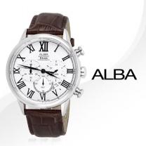 정품[알바]AT3495X ALBA 크로노 그래프 브라운 가죽밴드시계