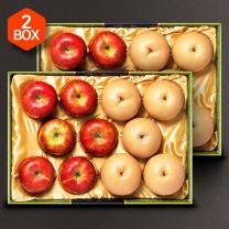 [아리알찬]사과.배 혼합세트 10.0kg이상(사과12입,배10입), 5.0kg*2
