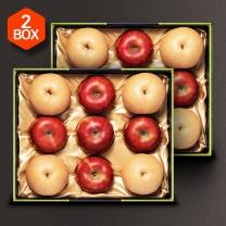 [아리알찬]사과.배 혼합세트 7.0kg(사과10입,배8입). 3.5kgx2box