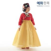 예화 여아용 아동한복_ 무궁화 금박 홍 1042