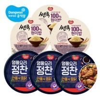 [동원] 정찬 안동식찜닭 or 닭볶음탕 190g x3캔 + (쎈쿡 현미밥 195gx3개)