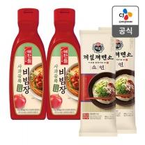 [CJ직배송] 해찬들 사과듬뿍 비빔장470gX2개 +제일제면소 소면500gX2개