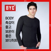 BYC남성 보디히트(발열)U넥남긴팔T(재색R9902)