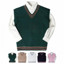 [바보사랑]투라인 브이넥 니트 조끼 (5color) KNV005