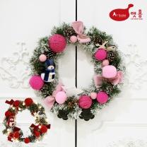 앳홈 코튼 리본 크리스마스 리스 / 40cm