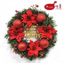 앳홈 글리터 크리스마스 리스 / 30cm