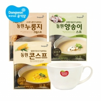 [동원] 컵스프 3종 26g x 20봉 + 머그컵 증정 (콘/양송이/누룽지크림)