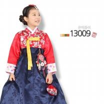 [예화-좋은아이들] 名品 여아 아동한복 은박홍색_ 13009 (저고리 + 원피스형치마)/여