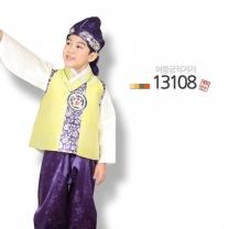 [예화-좋은아이들] 名品 남아 아동한복 이중금직겨자_ 13108 (배자 + 저고리 + 바지)/