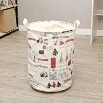 면마소재 북유럽풍 세탁바구니/원통수납함 빨래통