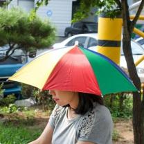 [바보사랑]우산형 무지개 모자(60cm) 우산모자 판촉 답례