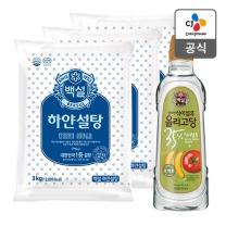 [CJ직배송] 하얀설탕3kgx3개 + 백설 건강한 올리고당 1.2kg