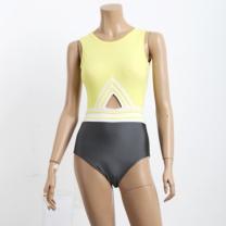 [바보사랑][비키로라] 원피스 수영복- 옐로우 삼선 원피스 수영복 M8002