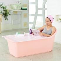 이동식 반신욕조세트 대형 (욕조+덮개) (화이트/핑크 택1)