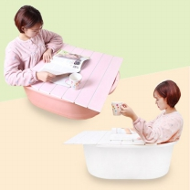 이동식 반신욕조세트 중형 (욕조+덮개) (화이트/핑크 택1)