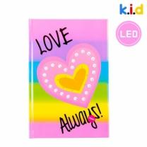 [바보사랑]반짝반짝 하트 핑크 LED 공책