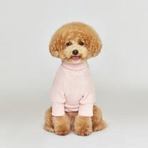 시그니쳐 강아지옷 목폴라 니트 핑크