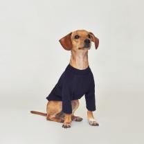 시그니쳐 강아지옷 하프넥 골지티셔츠 네이비