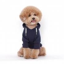 웜테크 플로트 강아지옷 기모후드 네이비