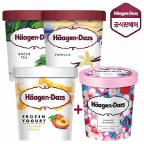 하겐다즈 아아스크림 파인트 총4개 바닐라+녹차+요거트엘로우피치+체리블로썸(증정)