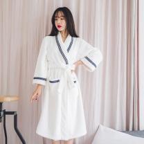 [바보사랑]네이비 레이스 면 타월 가운 여성잠옷 W257