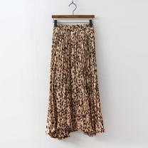[바보사랑]Leopard Pleats Long Skirt