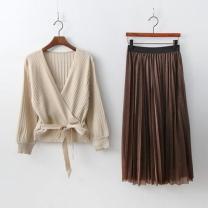 [바보사랑][Set] Wrap Cardigan + Twinkle Pleats Skirt