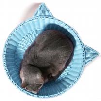 라탄 냥이 바구니 L(블루)-고양이 하우스 방석 집