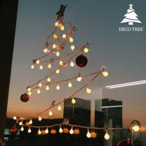 데코트리 크리스마스 벽트리(LED전구+큐방고리+장식볼) 풀세트