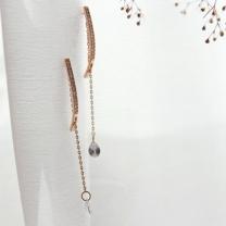[바보사랑]제이로렌 M02739 슬림라인 체인 크리스탈 큐빅 귀걸이