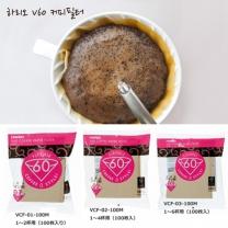 하리오V60 커피필터/VCF-01,VCF-02,VCF-03/여과지