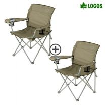 [로고스] 1+1 라이프 백 서포트 캠핑 체어 73174010s 낚시 캠핑용 접이식 의자 라이프 백 서포트 캠핑 체어 (1+1)