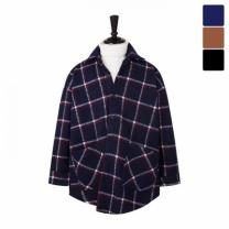 [바보사랑]오버핏 스퀘어 체크 셔츠 코트 CTM443
