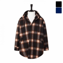 [바보사랑]오버핏 마랑후드 울체크 셔츠 코트 CTM448