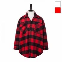 [바보사랑]오버핏 블록체크 셔츠 코트 CTM449