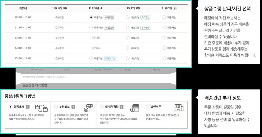 상품수령 날짜/시간 선택:매장에서 직접 배송하는 매장 배송 상품의 경우 배송을 원하시는 날짜와 시간을 선택하실 수 있습니다.배송관련 부가 정보:주문 상품이 결품일 경우 대체 방안과 배송 시 필요한 사항 등을 선택 및 입력하실 수 있습니다.
