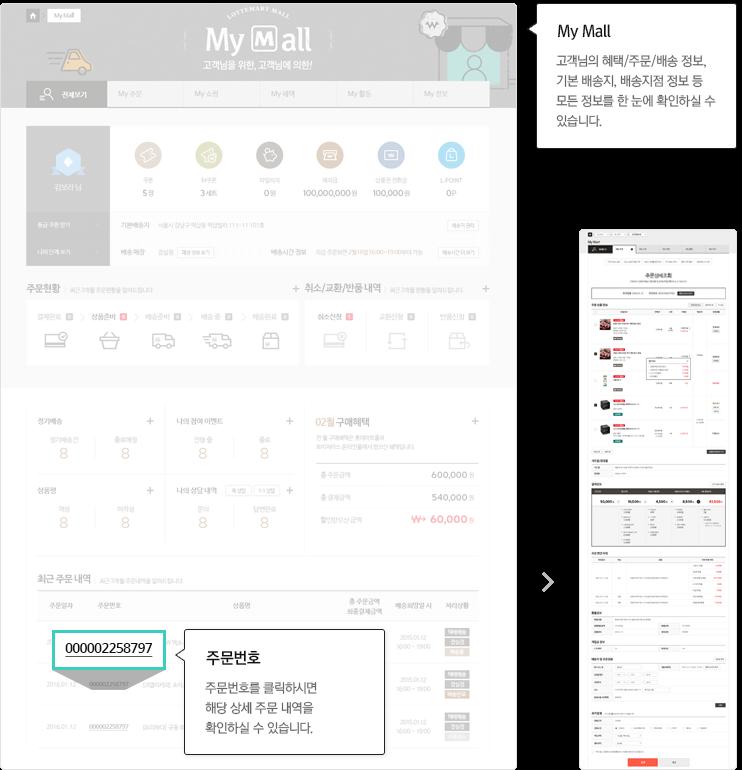 마이롯데:고객님의 혜택/주문/배송 정보, 기본 배송지, 배송매장 정보 등 모든 정보를 한 눈에 확인하실 수 있습니다.주문번호:주문번호를 클릭하시면 해당 상세 주문 내역을 확인하실 수 있습니다.
